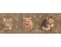 Prepasted Wallpaper Borders - Brown Wild Cats Wall Paper Border