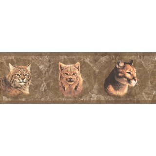 8 in x 15 ft Prepasted Wallpaper Borders - Brown Wild Cats Wall Paper Border