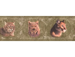 Prepasted Wallpaper Borders - Green Wild Cats Wall Paper Border