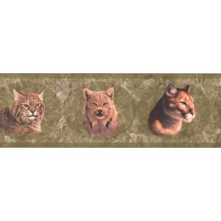 8 in x 15 ft Prepasted Wallpaper Borders - Green Wild Cats Wall Paper Border