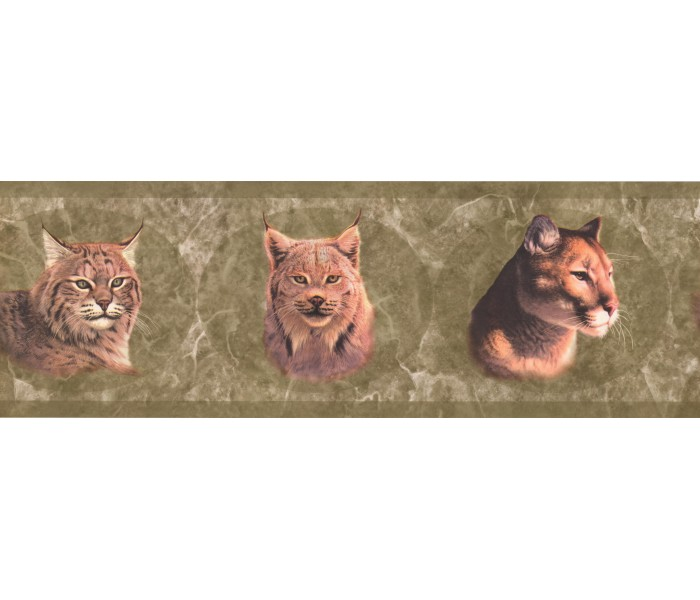 Animal Wallpaper Borders: Green Wild Cats Wallpaper Border