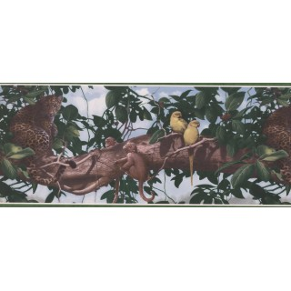 10 in x 15 ft Prepasted Wallpaper Borders - Panther on Tree Wall Paper Border