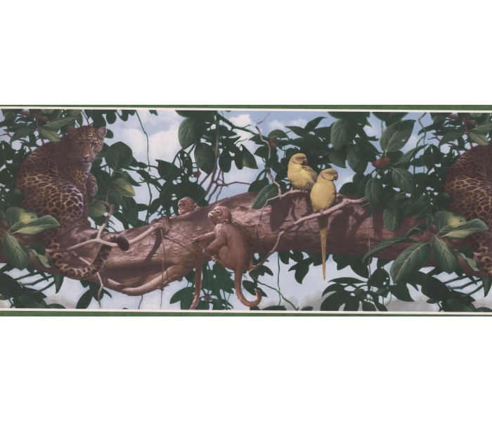 Jungle Wallpaper Borders: Panther on Tree Wallpaper Border