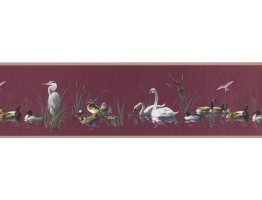 7 in x 15 ft Prepasted Wallpaper Borders - Goose duck teal swan Wall Paper Border