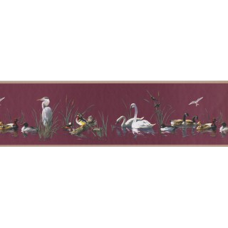 7 in x 15 ft Prepasted Wallpaper Borders - Goose duck teal swan Wall Paper Border