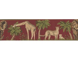 7 in x 15 ft Prepasted Wallpaper Borders - Moss Jungle Animals Wall Paper Border