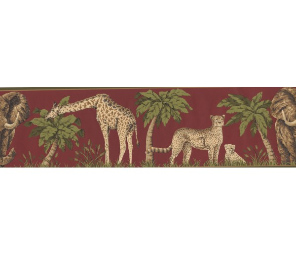 Prepasted Wallpaper Borders - Moss Jungle Animals Wall Paper Border