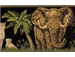 Prepasted Wallpaper Borders - Dark Moss Jungle Animals Wall Paper Border