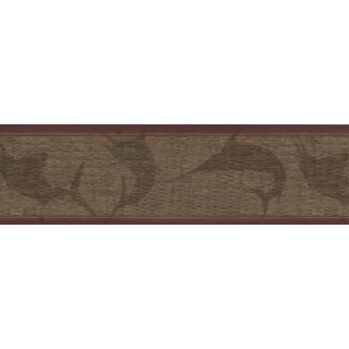 6 3/4 in x 15 ft Prepasted Wallpaper Borders - Dark Brown Faux Basket Weave Wall Paper Border