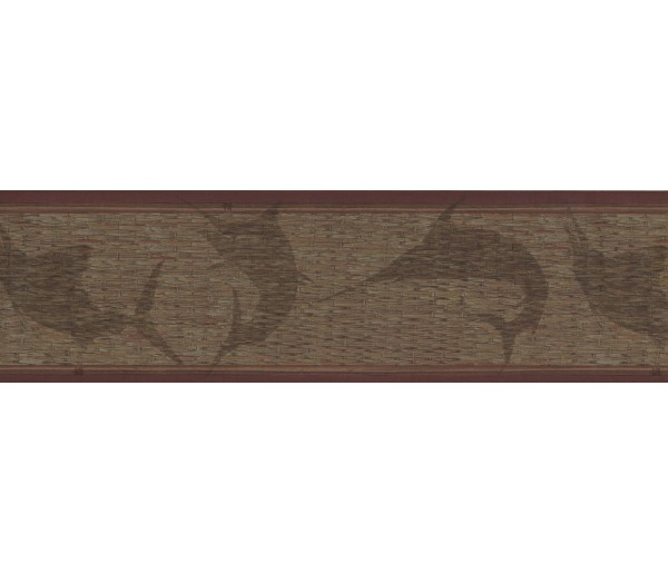 Bathroom Dark Brown Faux Basket Weave Wallpaper Border