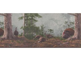 Prepasted Wallpaper Borders - Brown Rainforest Scenery Turkeys Wall Paper Border
