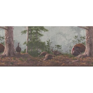 10 in x 15 ft Prepasted Wallpaper Borders - Brown Rainforest Scenery Turkeys Wall Paper Border