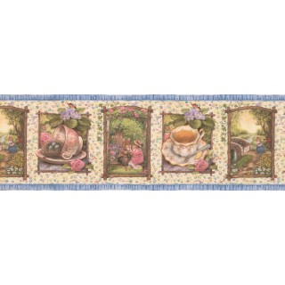 8 in x 15 ft Prepasted Wallpaper Borders - Holly Pond Roses Wall Paper Border