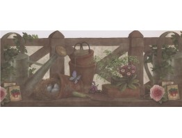 Prepasted Wallpaper Borders - Dark Fence Garden Wall Paper Border
