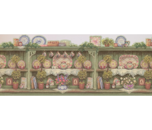 Kitchen Wallpaper Borders: Green Scalloped China Dishes Wallpaper Border