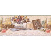 Prepasted Wallpaper Borders - White Cupped Brushes Wall Paper Border