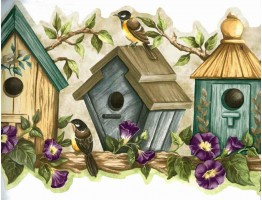 Blue Bird Houses Wallpaper Border