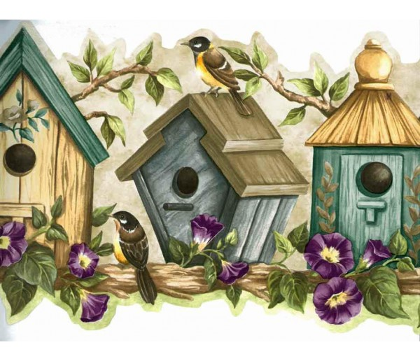 Bird Houses Blue Bird Houses Wallpaper Border