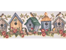 Prepasted Wallpaper Borders - Yellow Bird House Wall Paper Border
