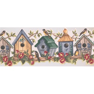 10 in x 15 ft Prepasted Wallpaper Borders - Yellow Bird House Wall Paper Border