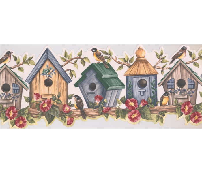 Bird Houses Wallpaper Borders: Yellow Bird House Wallpaper Border