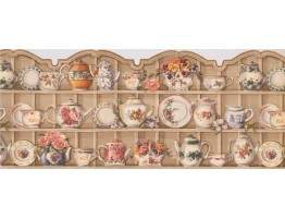 Prepasted Wallpaper Borders - White Cups and Saucer Cupboard Wall Paper Border