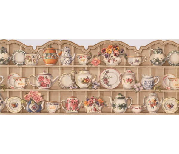 Kitchen Wallpaper Borders: White Cups and Saucer Cupboard Wallpaper Border