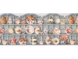 Prepasted Wallpaper Borders - Blue Cups and Saucer Cupboard Wall Paper Border