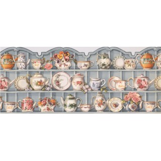 10 in x 15 ft Prepasted Wallpaper Borders - Blue Cups and Saucer Cupboard Wall Paper Border