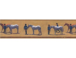 Prepasted Wallpaper Borders - Horses Wall Paper Border HJ6638