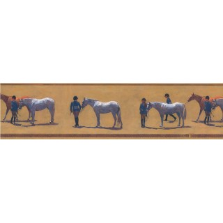 6 in x 15 ft Prepasted Wallpaper Borders - Horses Wall Paper Border HJ6638