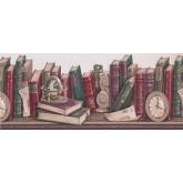 Bookshelf Taupe Scalloped Books Wallpaper Border York Wallcoverings