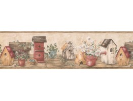Wooden Cream Red Bird Houses Wallpaper Border