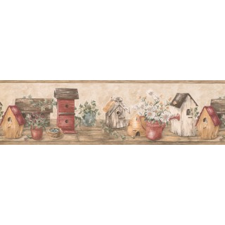 6 1/2 in x 15 ft Prepasted Wallpaper Borders - Wooden Cream Red Bird Houses Wall Paper Border