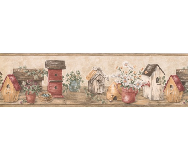 Prepasted Wallpaper Borders - Wooden Cream Red Bird Houses Wall Paper Border