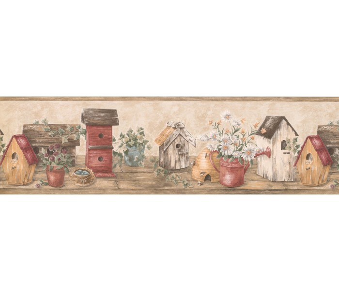 Bird Houses Wallpaper Borders: Wooden Cream Red Bird Houses Wallpaper Border