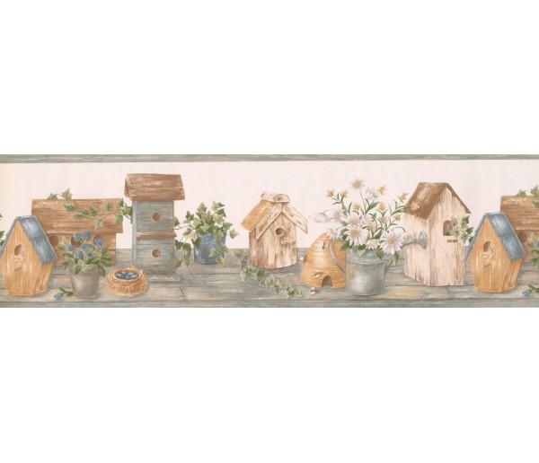 Bird Houses Wallpaper Borders: Green White Birdhouse Daisies Wallpaper Border