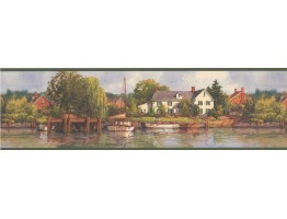 6 1/2 in x 15 ft Prepasted Wallpaper Borders - Green Lake Brick Houses Scenery Wall Paper Border