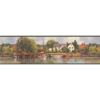6 1/2 in x 15 ft Prepasted Wallpaper Borders - Green Lake Brick Houses Scenery Wall Paper Border
