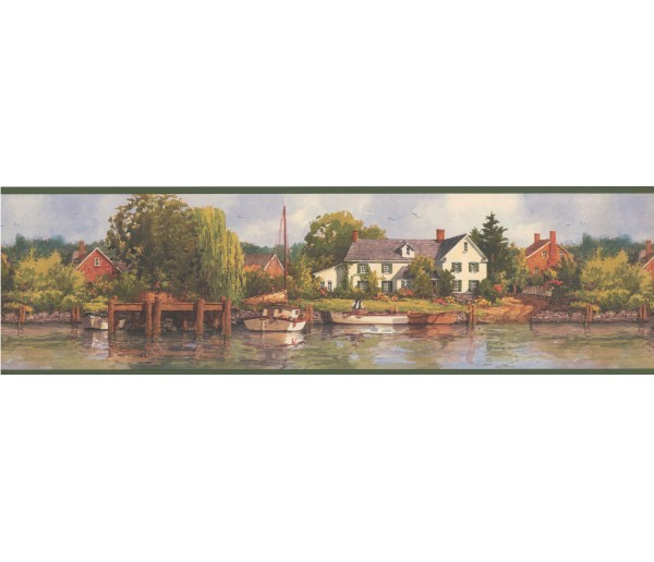 Lodge Wallpaper Borders: Green Lake Brick Houses Scenery Wallpaper Border