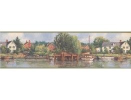 Olive White Boat Lakeshore Scenery Wallpaper Border