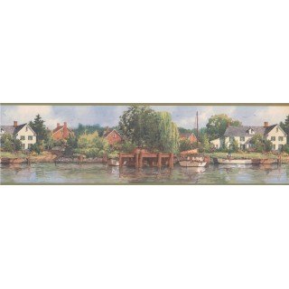 6 1/2 in x 15 ft Prepasted Wallpaper Borders - Olive White Boat Lakeshore Scenery Wall Paper Border