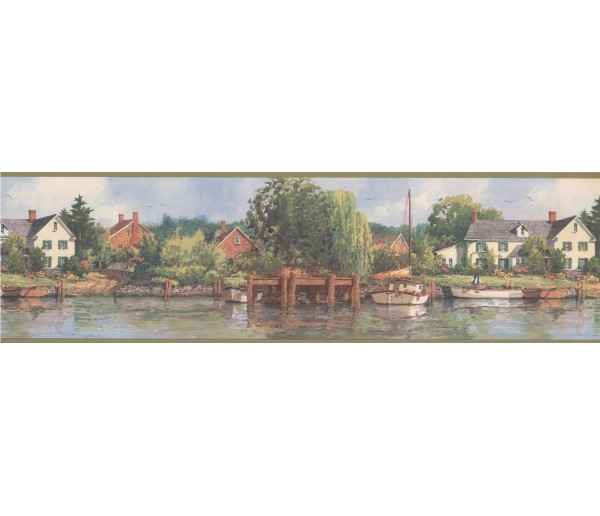 Country Wallpaper Borders: Olive White Boat Lakeshore Scenery Wallpaper Border