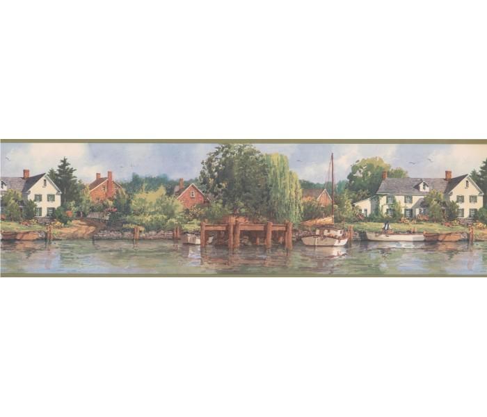 Country Wallpaper Borders: Olive White Boat Lakeshore Scenery Wallpaper Border