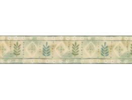 Blue Green Palm Leaves Wallpaper Border