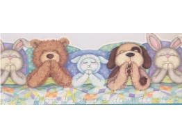 9 1/2 in x 15 ft Prepasted Wallpaper Borders - Kids Sleeping Toys Wall Paper Border IB9948