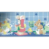 Clearance: Blue Kids Bathroon Bears Wallpaper Border