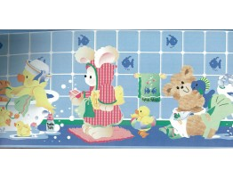 Prepasted Wallpaper Borders - Blue Kids Bathroon Bears Wall Paper Border