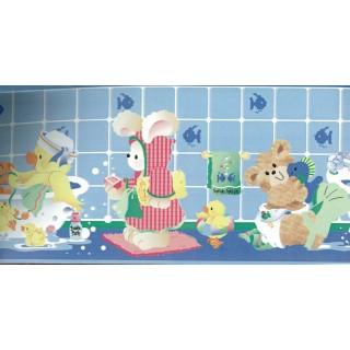 6 in x 15 ft Prepasted Wallpaper Borders - Blue Kids Bathroon Bears Wall Paper Border