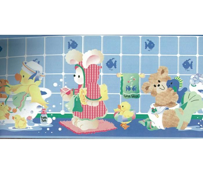 Clearance: Blue Kids Bathroon Bears Wallpaper Border